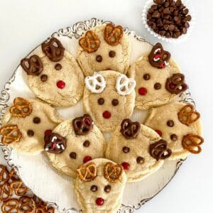 Reindeer cookies on white plate