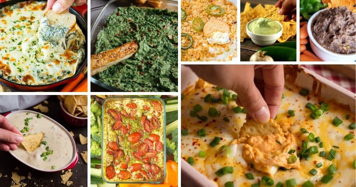 Savory dip recipe collage