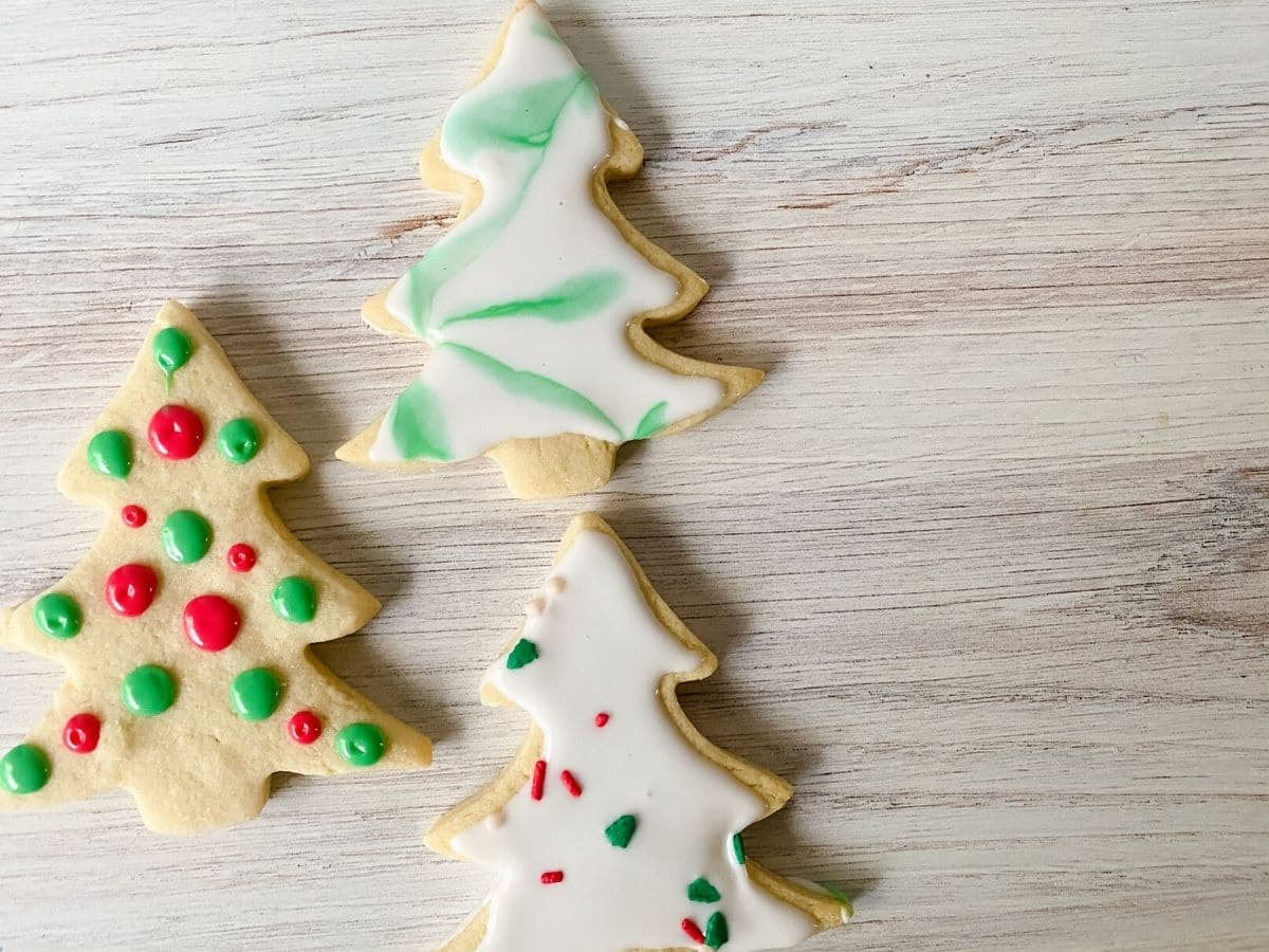 Decorated sugar cookies on tray