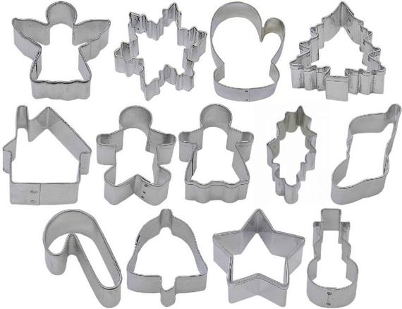 13 Piece Mini Christmas Cookie Cutter Set Snowflake Angel   Etsy