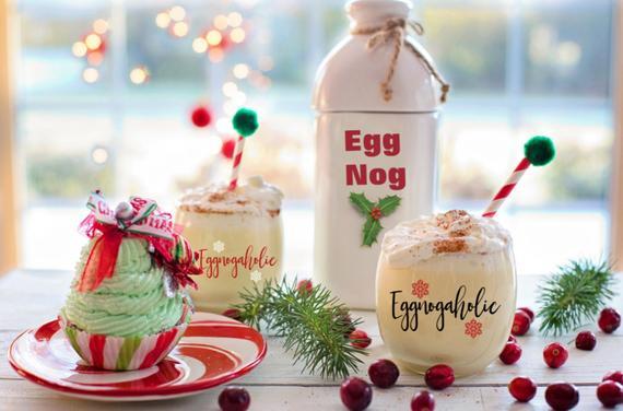 Christmas Drinking Glasses Eggnog Glass Eggnogaholic Glass | Etsy