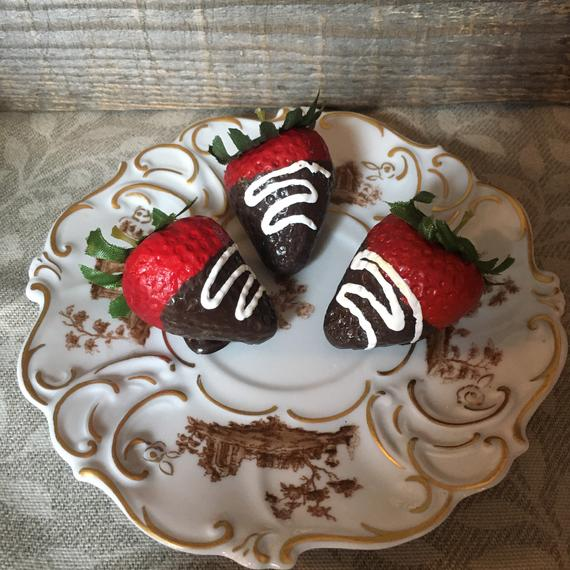 Chocolate Dipped Strawberries 3 White Drizzle Fake Food Photo | Etsy