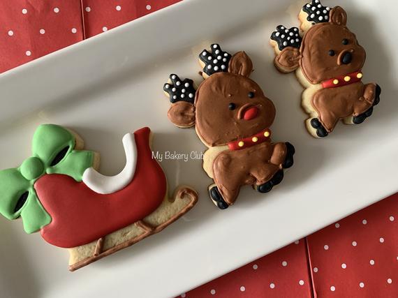 Santa Sleigh and Reindeer Cookie Set / Santa Favors / | Etsy