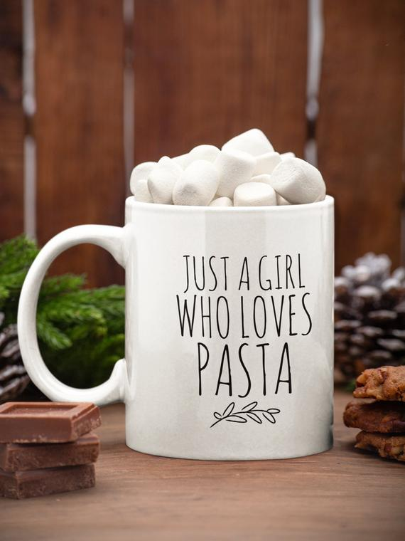 Just a girl who loves pasta coffee cup Pasta lover mug Gift | Etsy