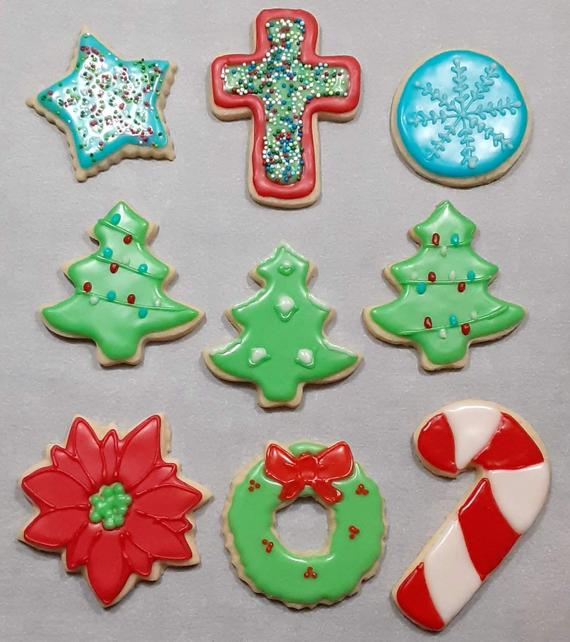 Iced Christmas Cookies   Etsy