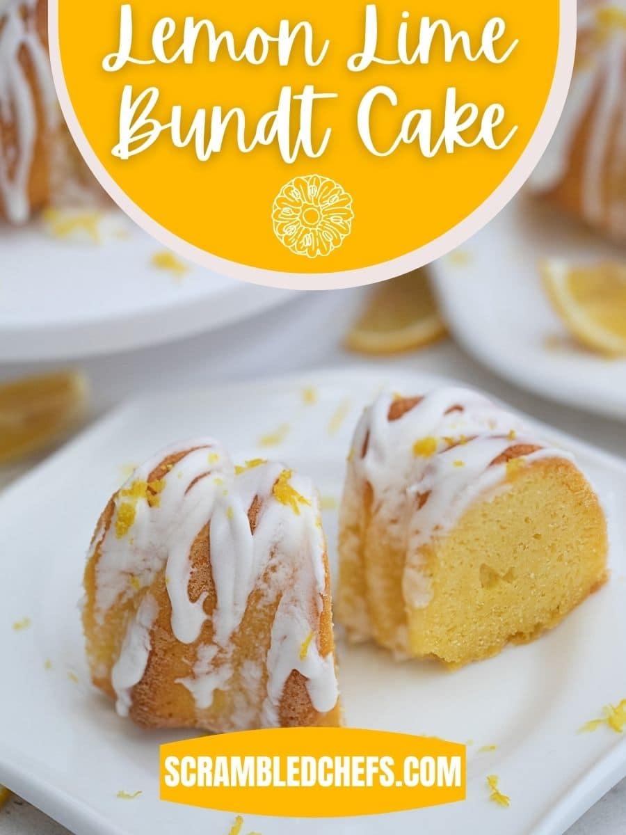 Slices of cake on plate with yellow overlay saying lemon lime bundt cake