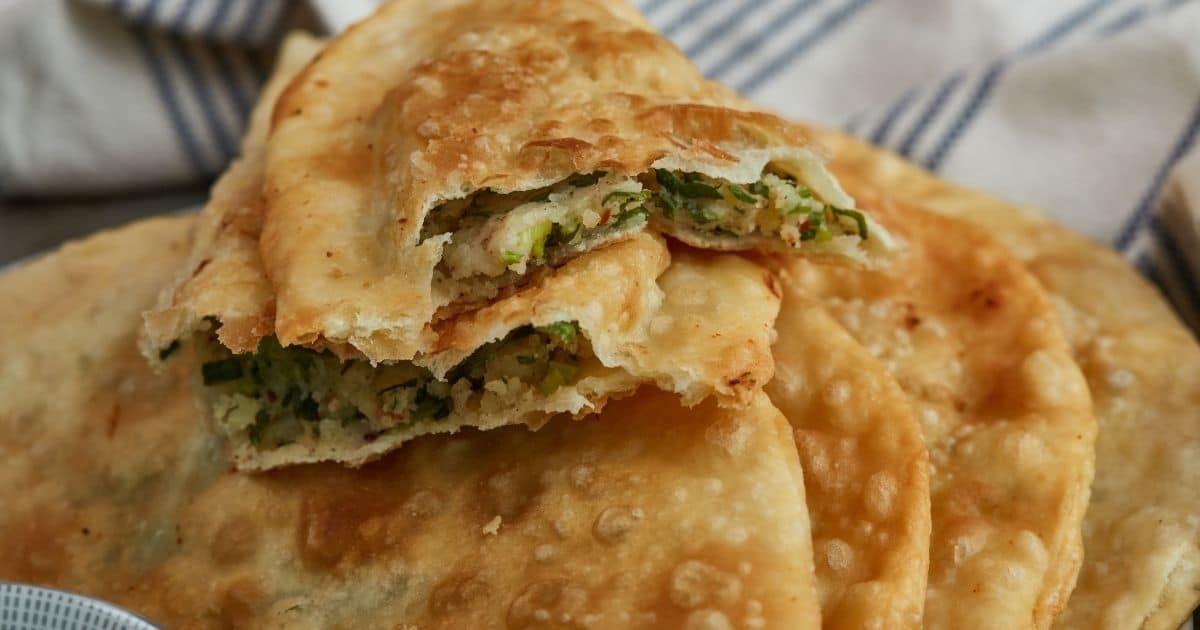 Traditional Afghani Bolani with Potatoes and Green Onions