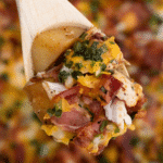 Wooden spoon holding potato and chicken casserole