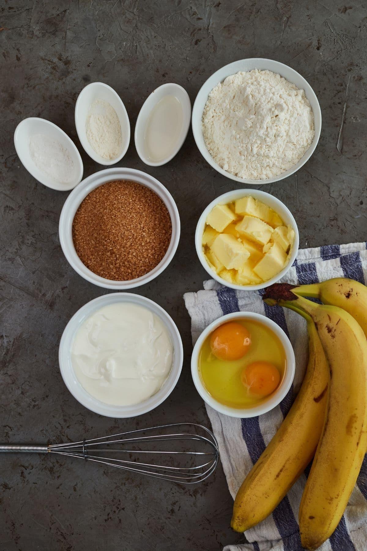 Ingredients for banana bread blondies