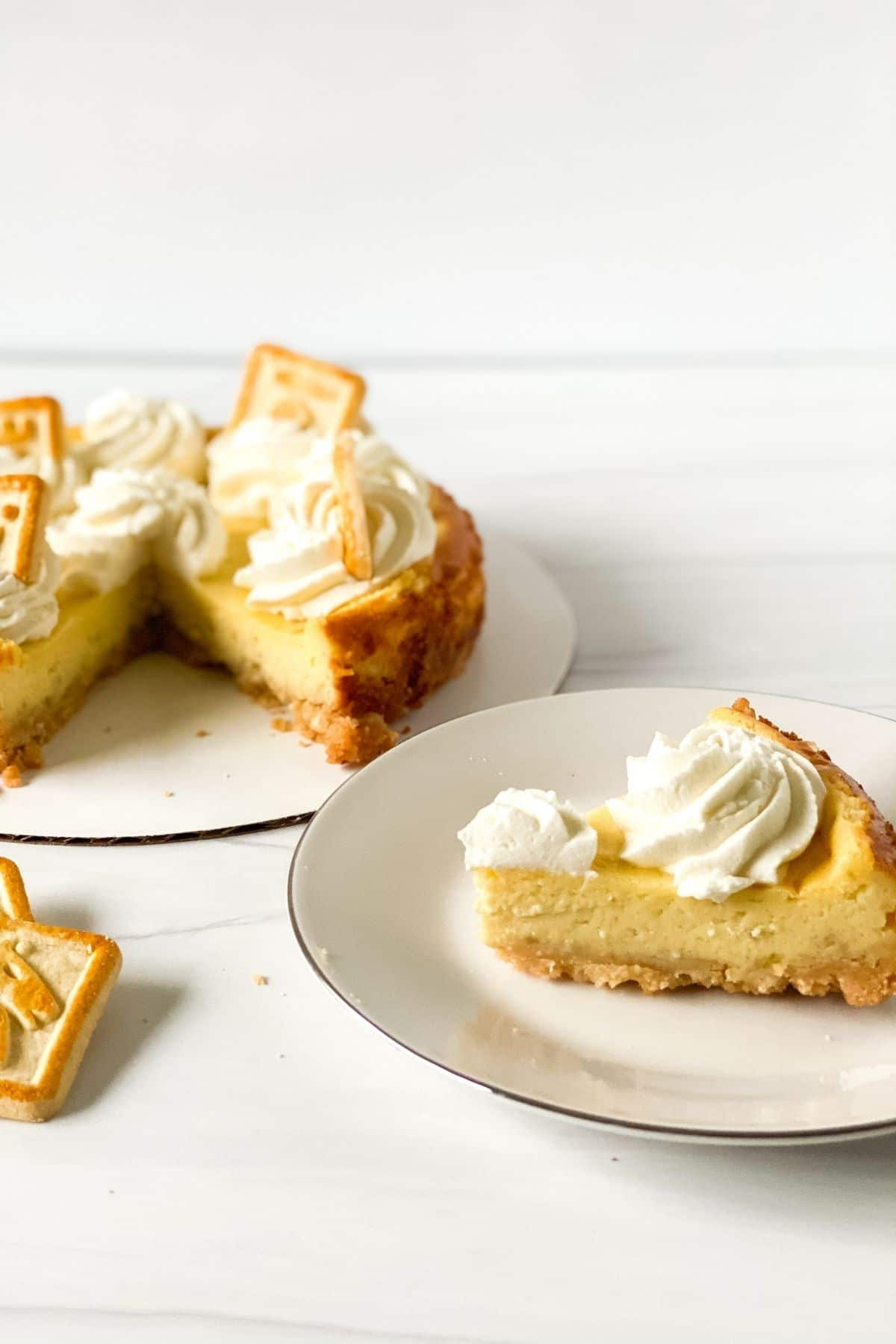 Slice of banana pudding cheesecake