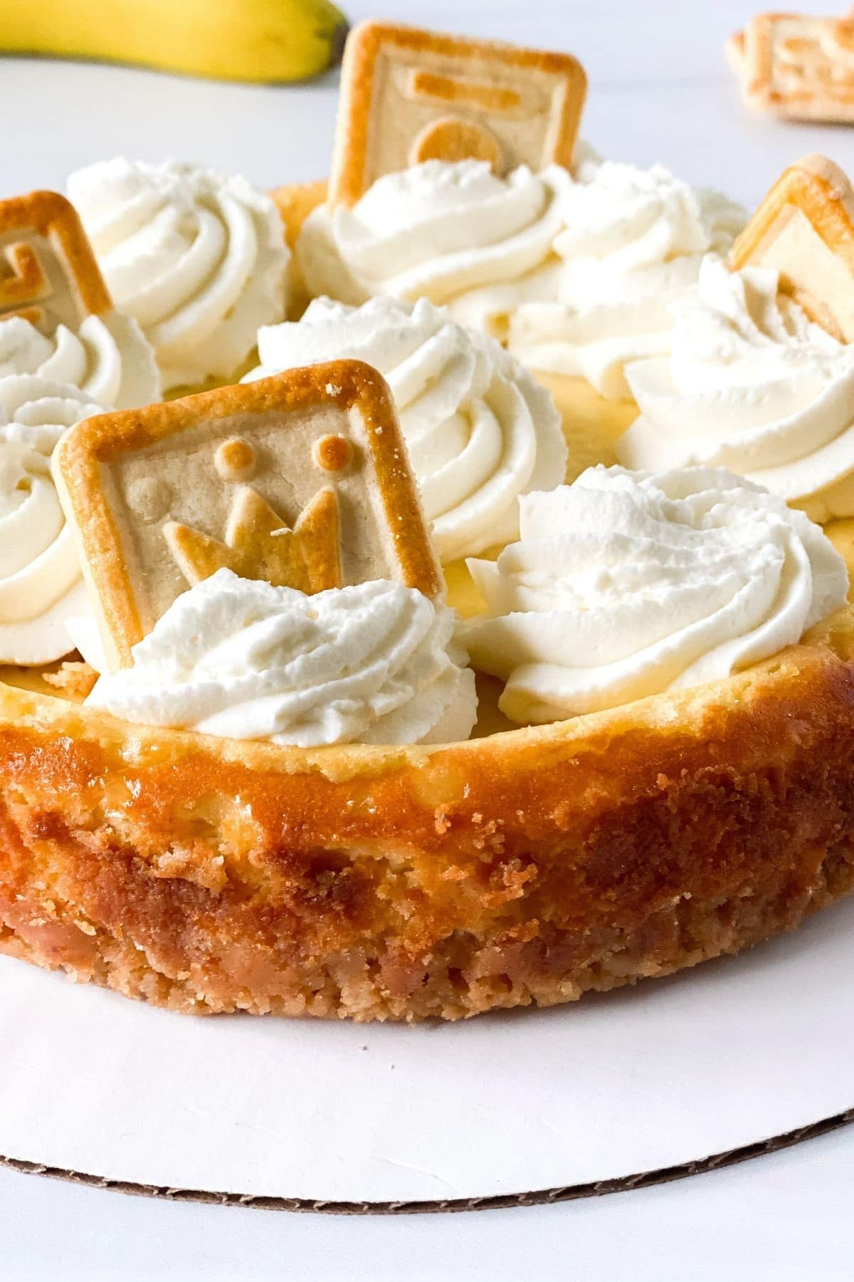 Banana pudding cheesecake topped with whipped cream
