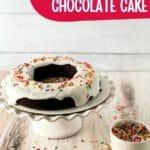 Iced chocolate cake on stand