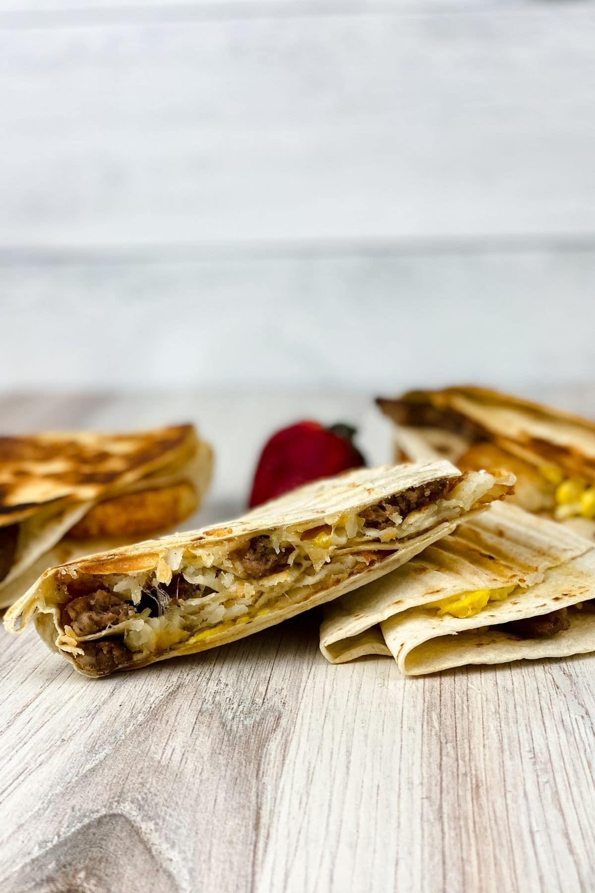 Stack of breakfast wraps