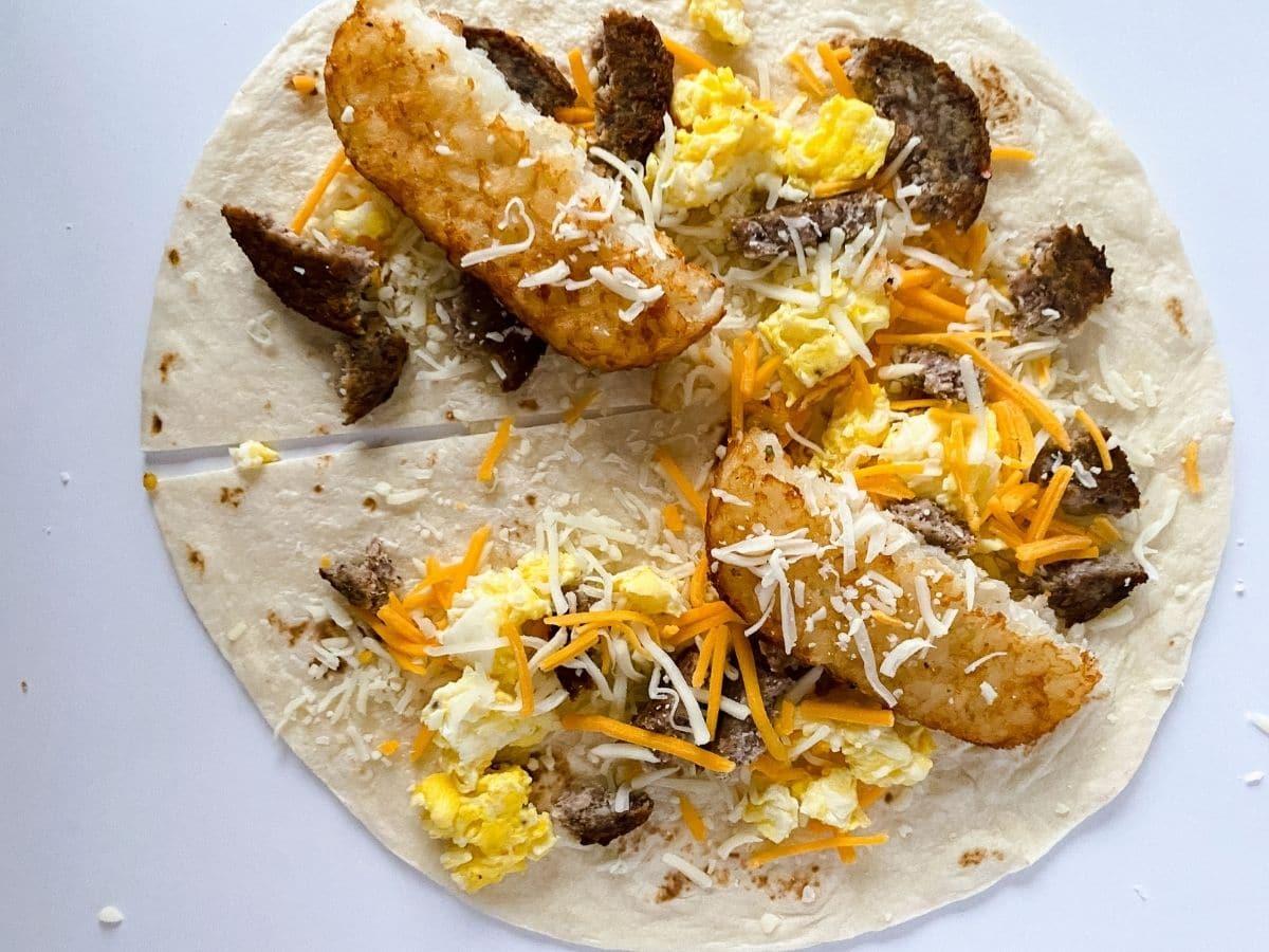 Ingredients on tortilla wrap