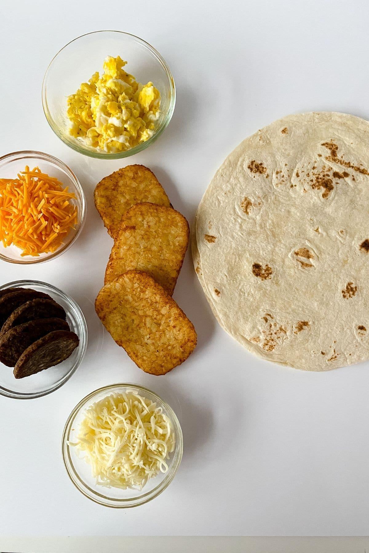 Ingredients for breakfast wrap