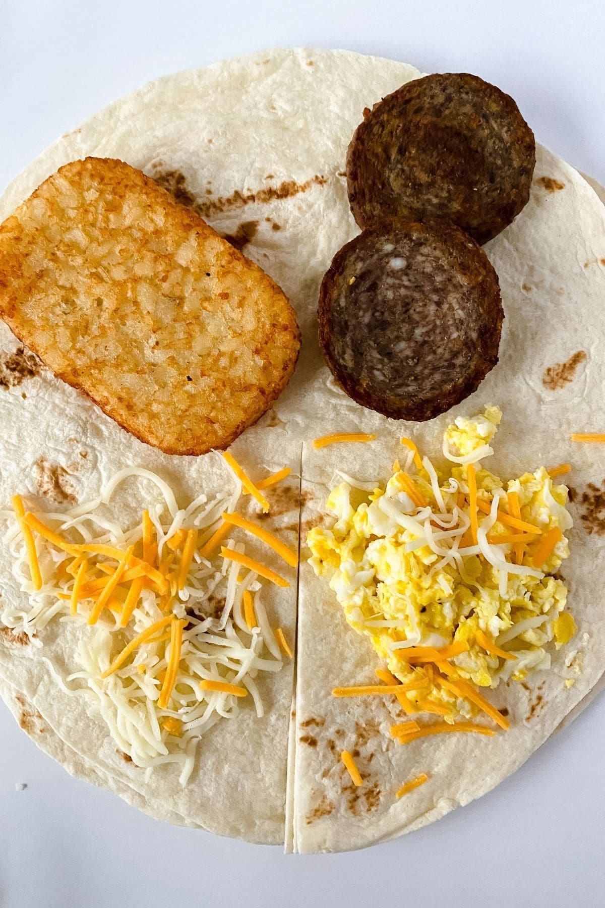 Dividied tortilla with ingredients