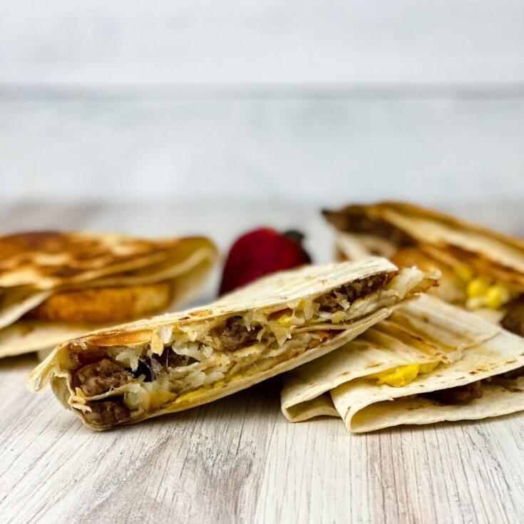 Breakfast wraps on wood counter