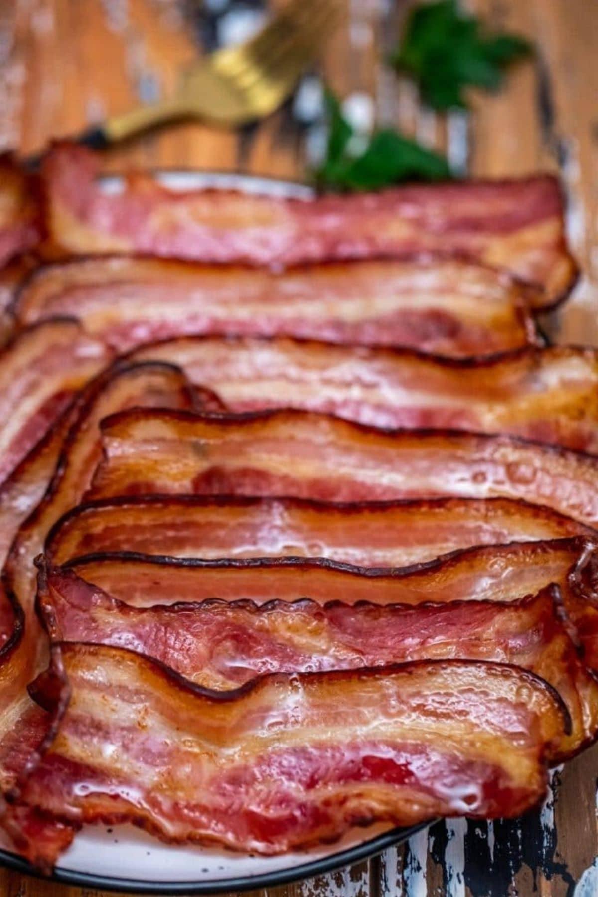 Bacon on platter