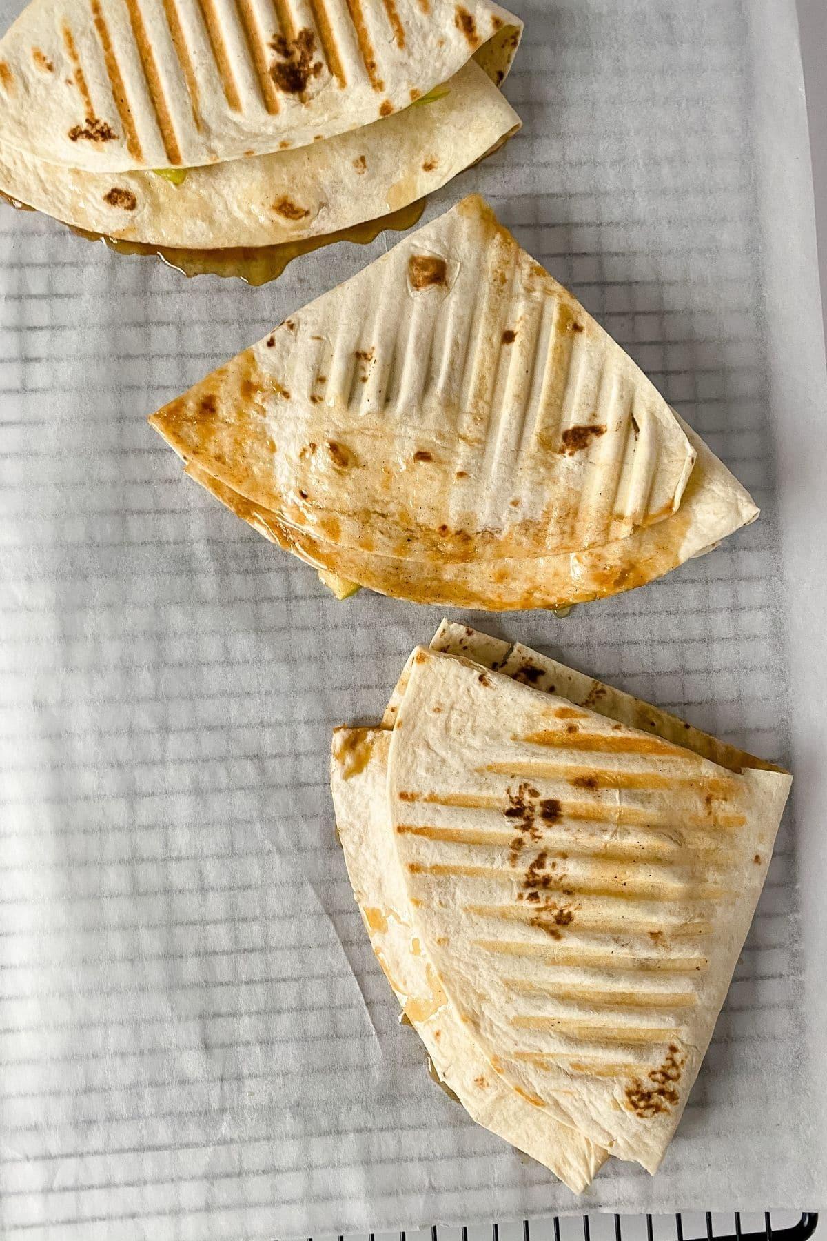 Apple pie wraps on platter
