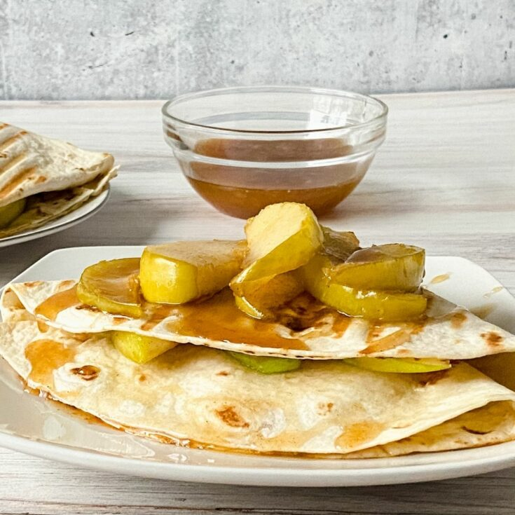 Caramel apple wrap on plate
