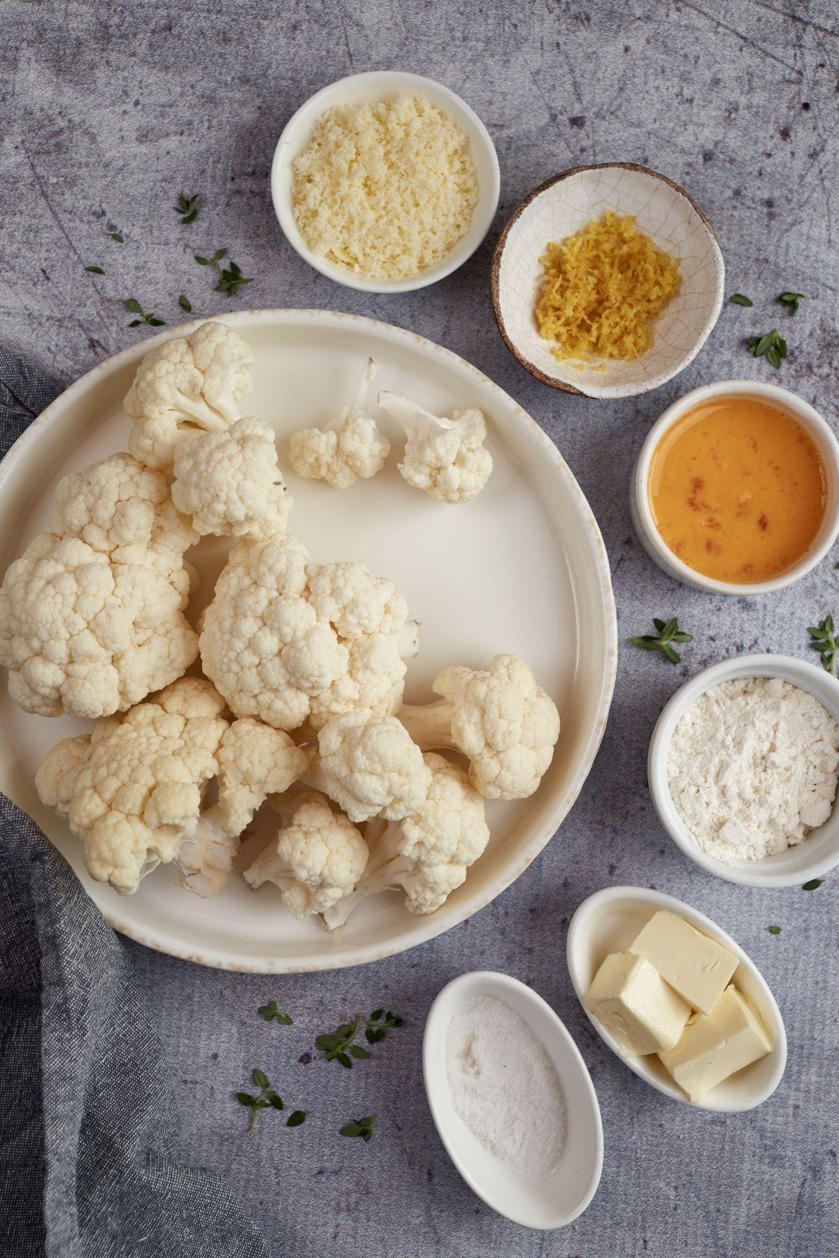 Ingredients for cauliflower gnocchi