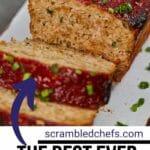 Sliced meatloaf on plate