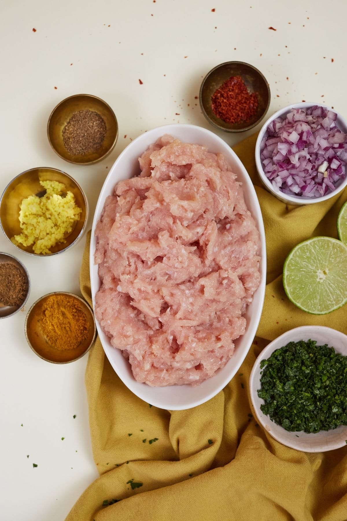 Ingredients for baked chicken samosa