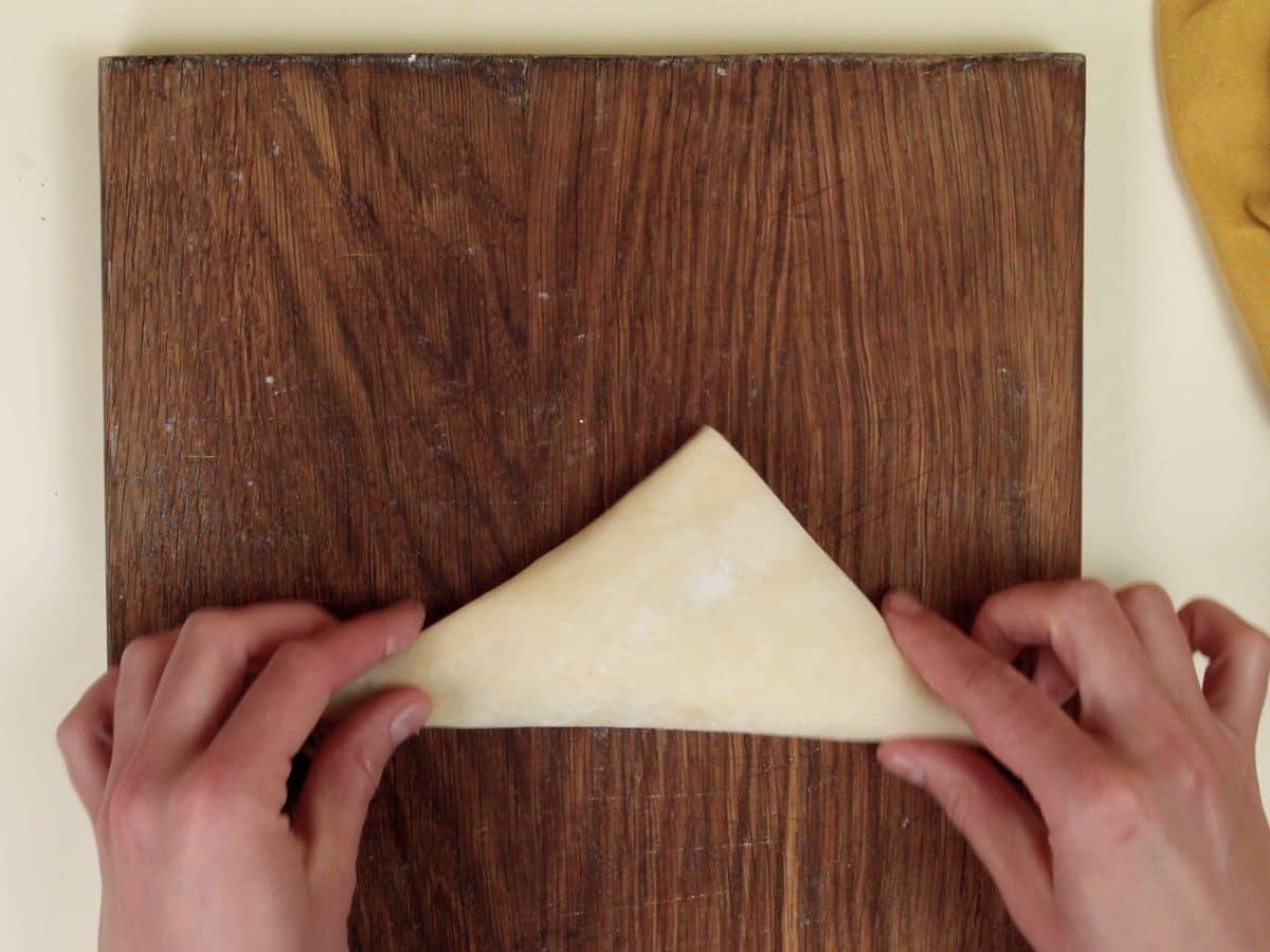 Folding samosas