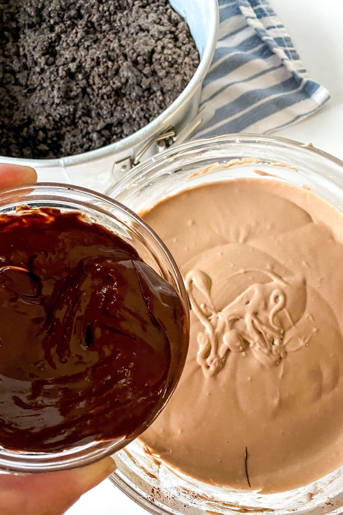 Adding chocolate to cheesecake