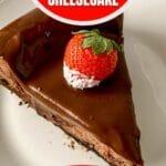 Sliced chocolate cheesecake on plates