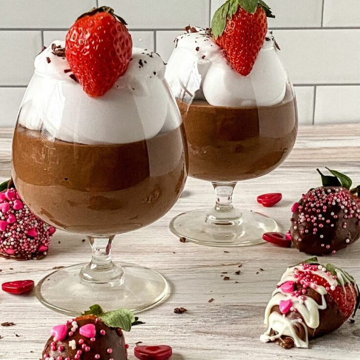 Glass dessert cup of chocolate mousse