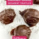 Chocolate coconut truffles on whiteplate