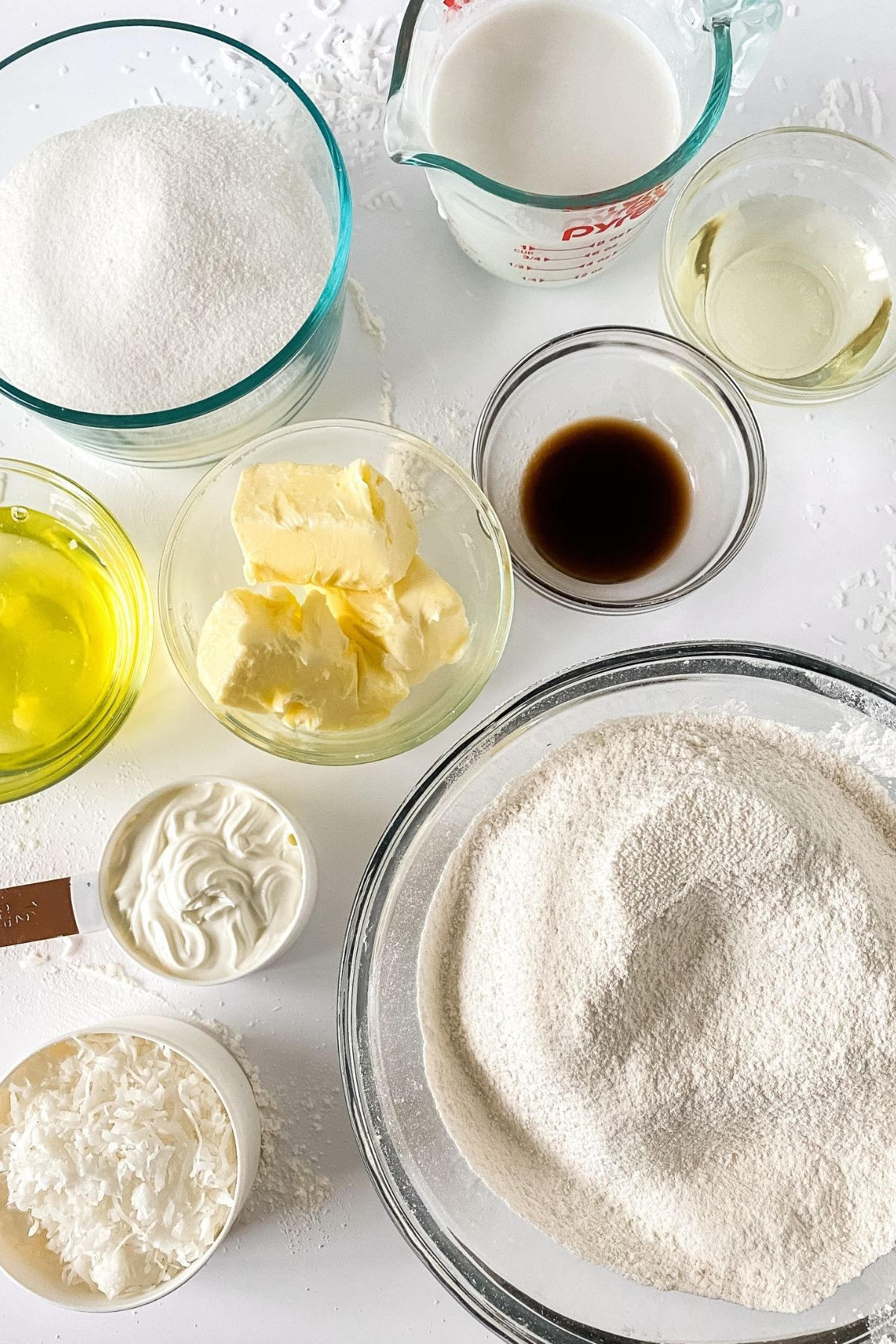 Ingredients for coconut cake