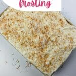 Coconut cake in baking dish