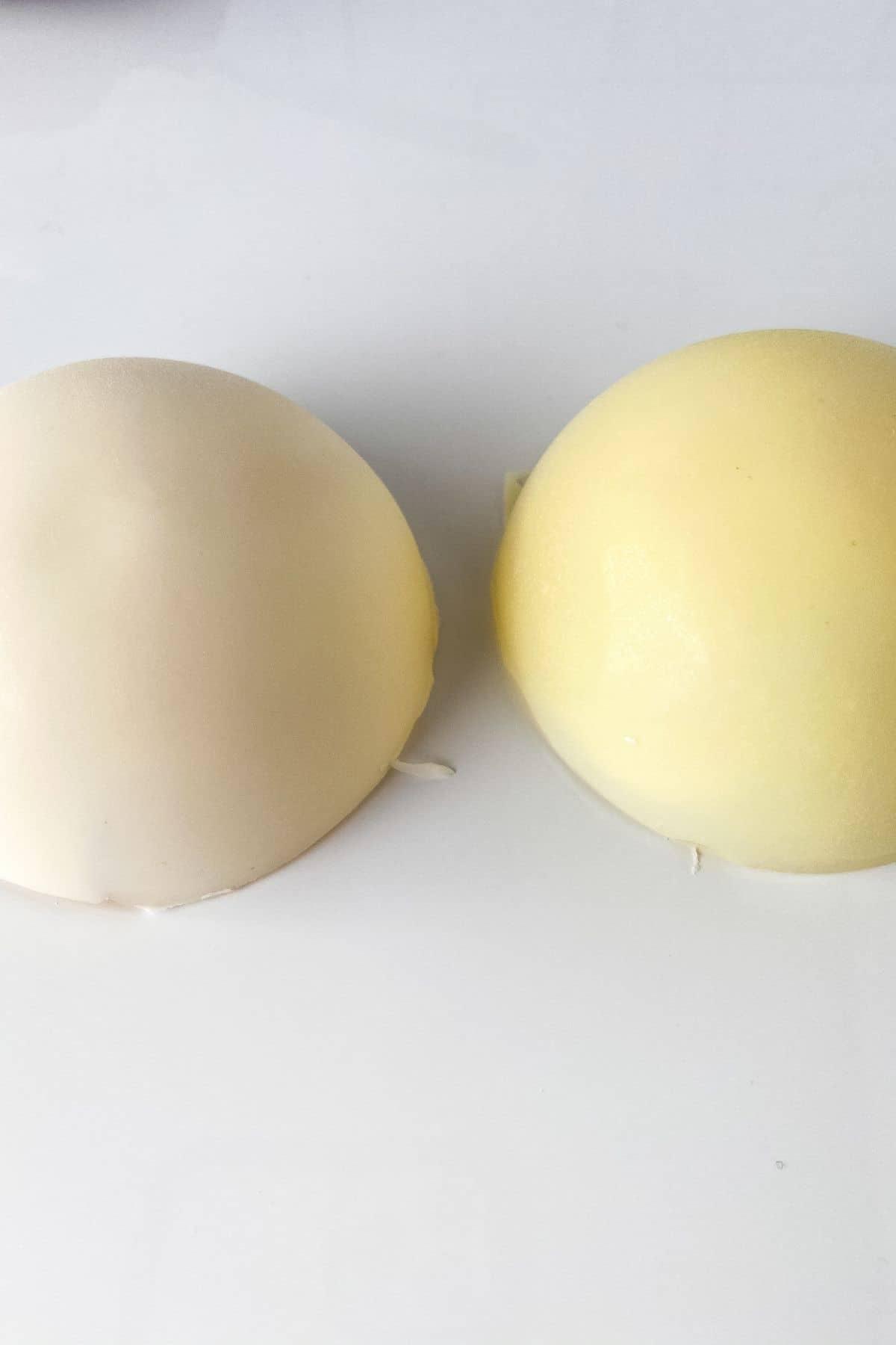 Two white chocolate halves