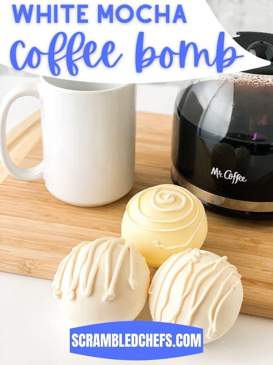 White mocha coffee bomb by coffee pot