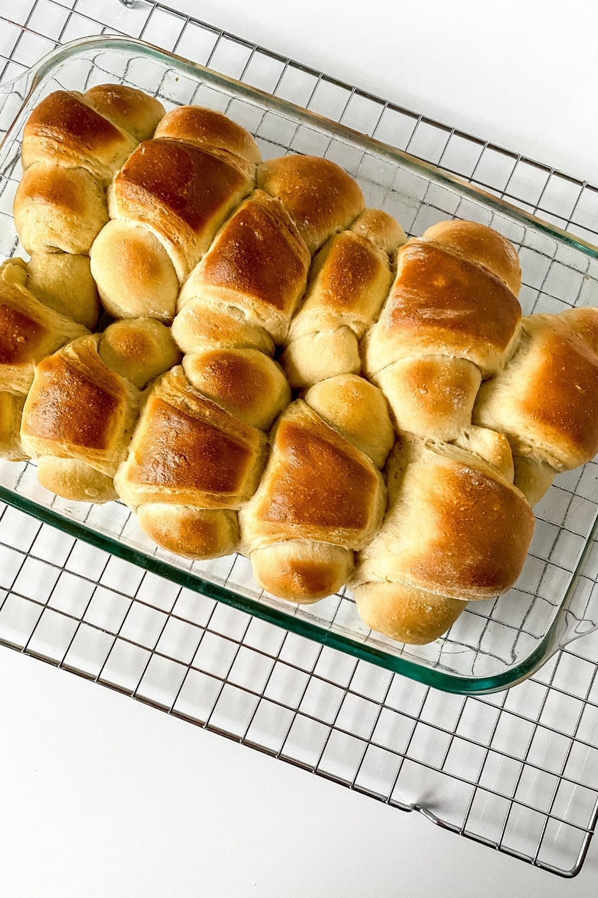 Cooked crescent rolls in baking dish
