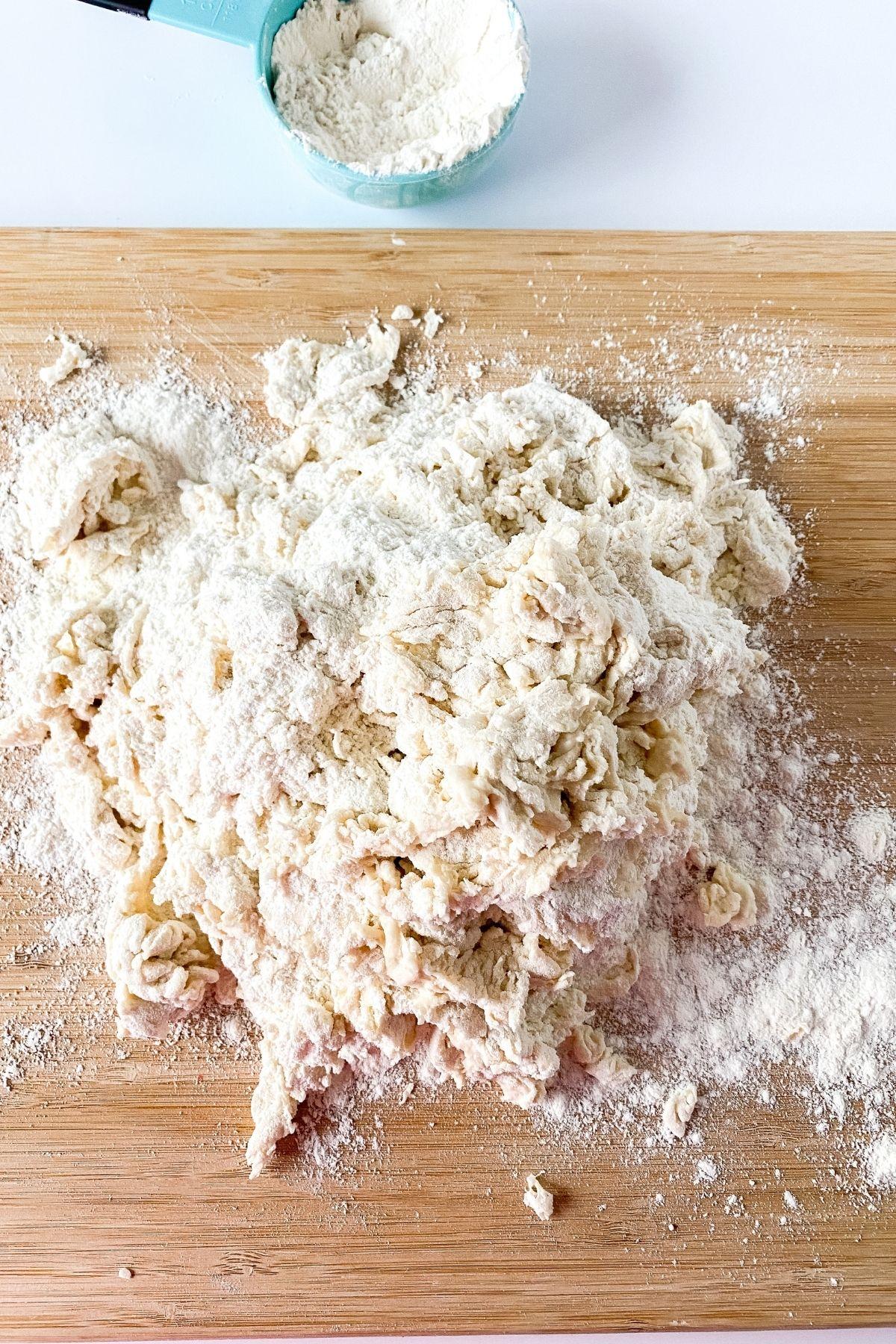 Dough on cutting board
