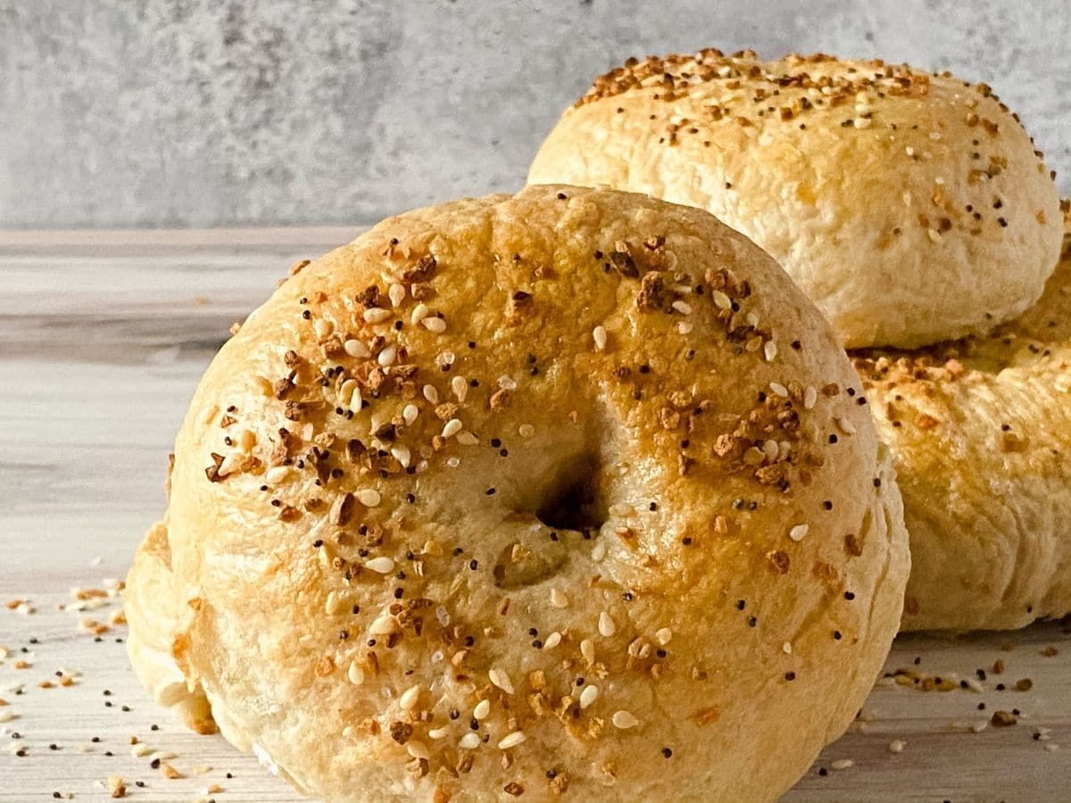 Stack of everything bagels