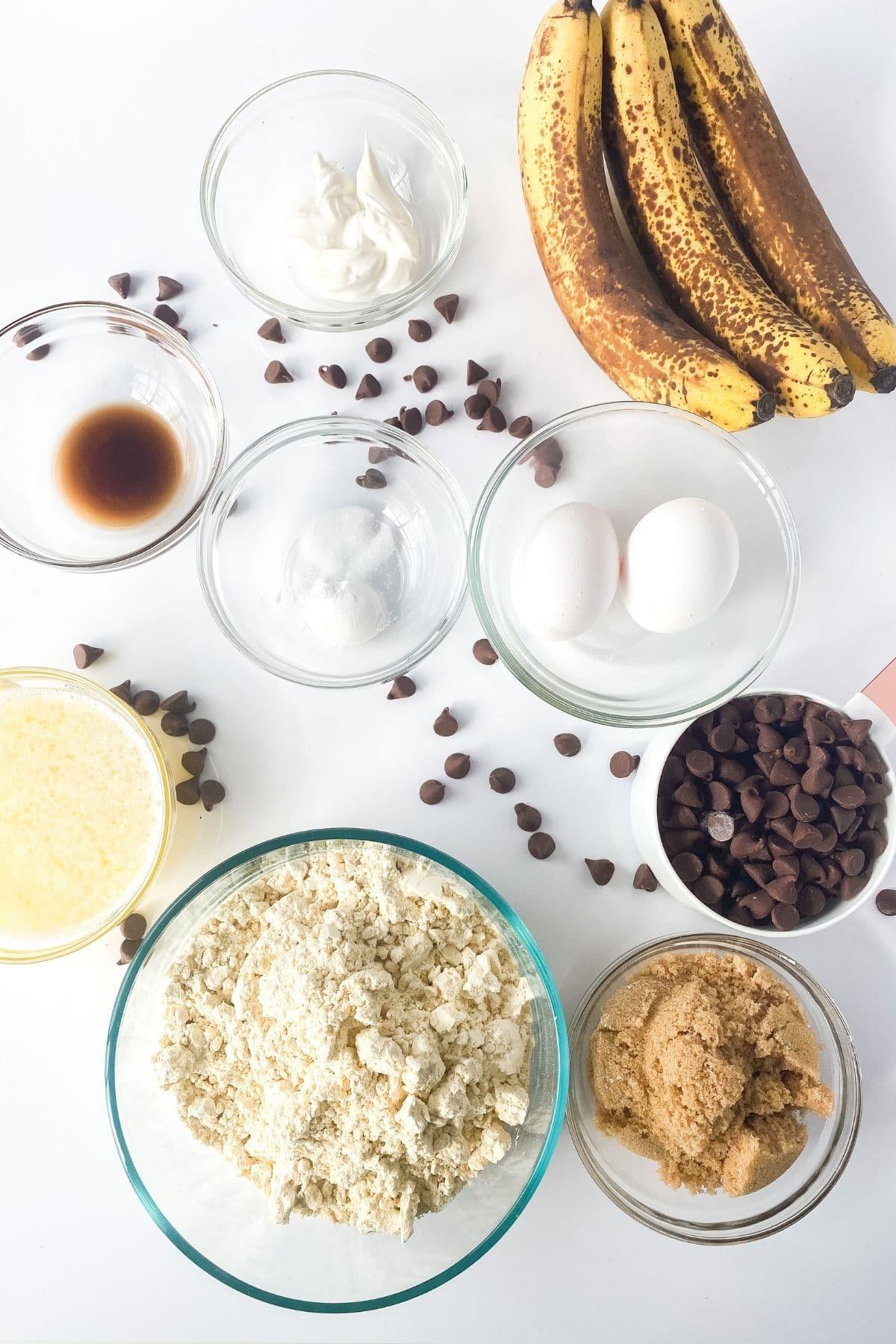 Ingredients for gluten free banana muffins
