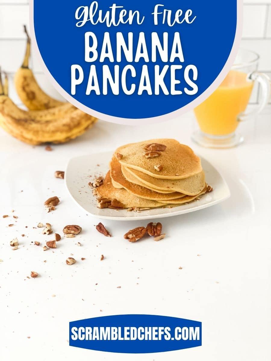 Gluten free banana pancakes on plate