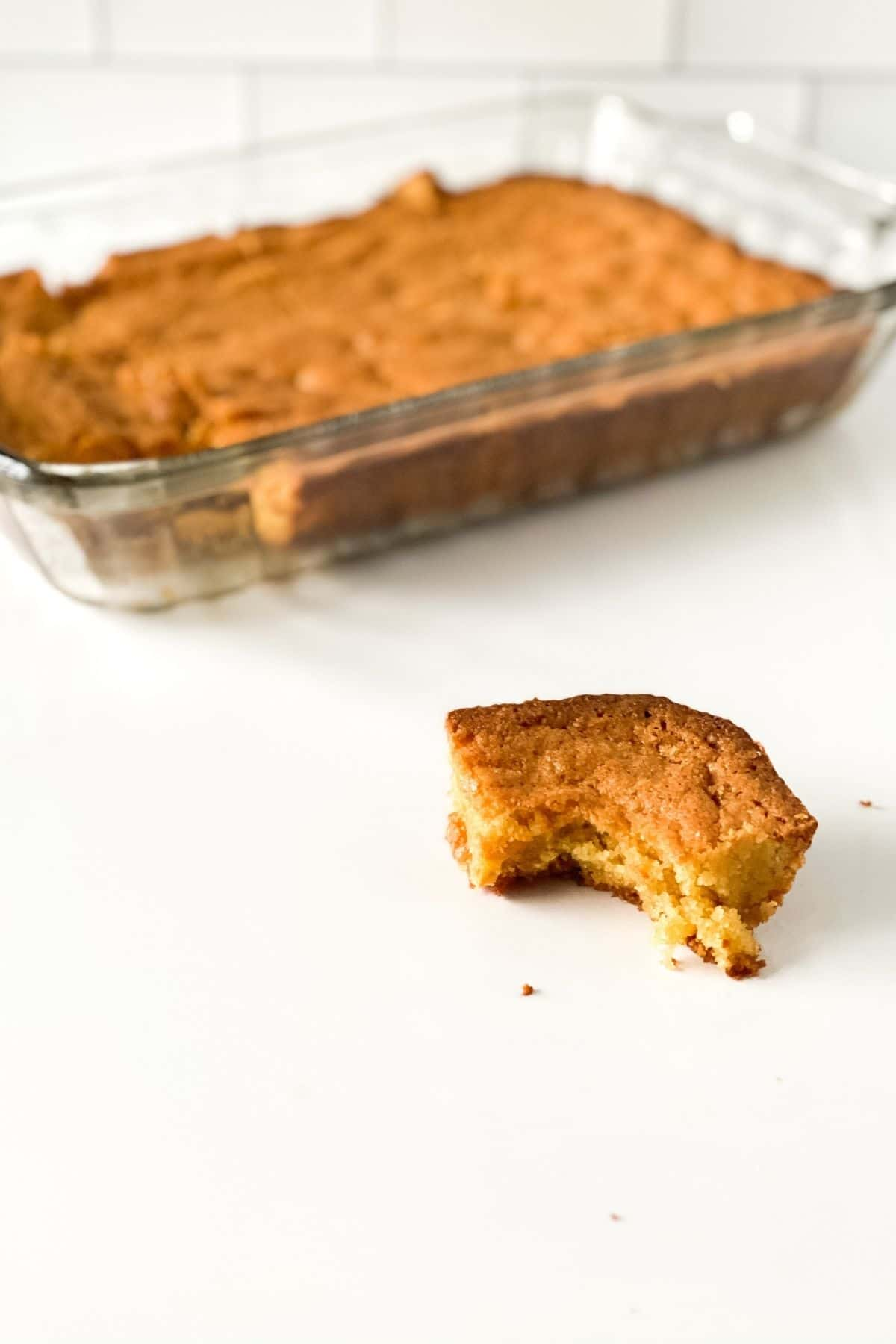 Blondies in baking dish
