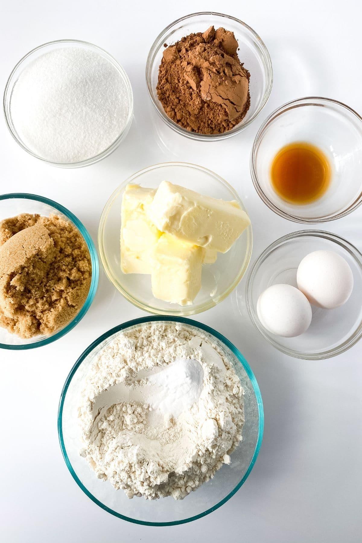 Ingredients for German chocolate cookies