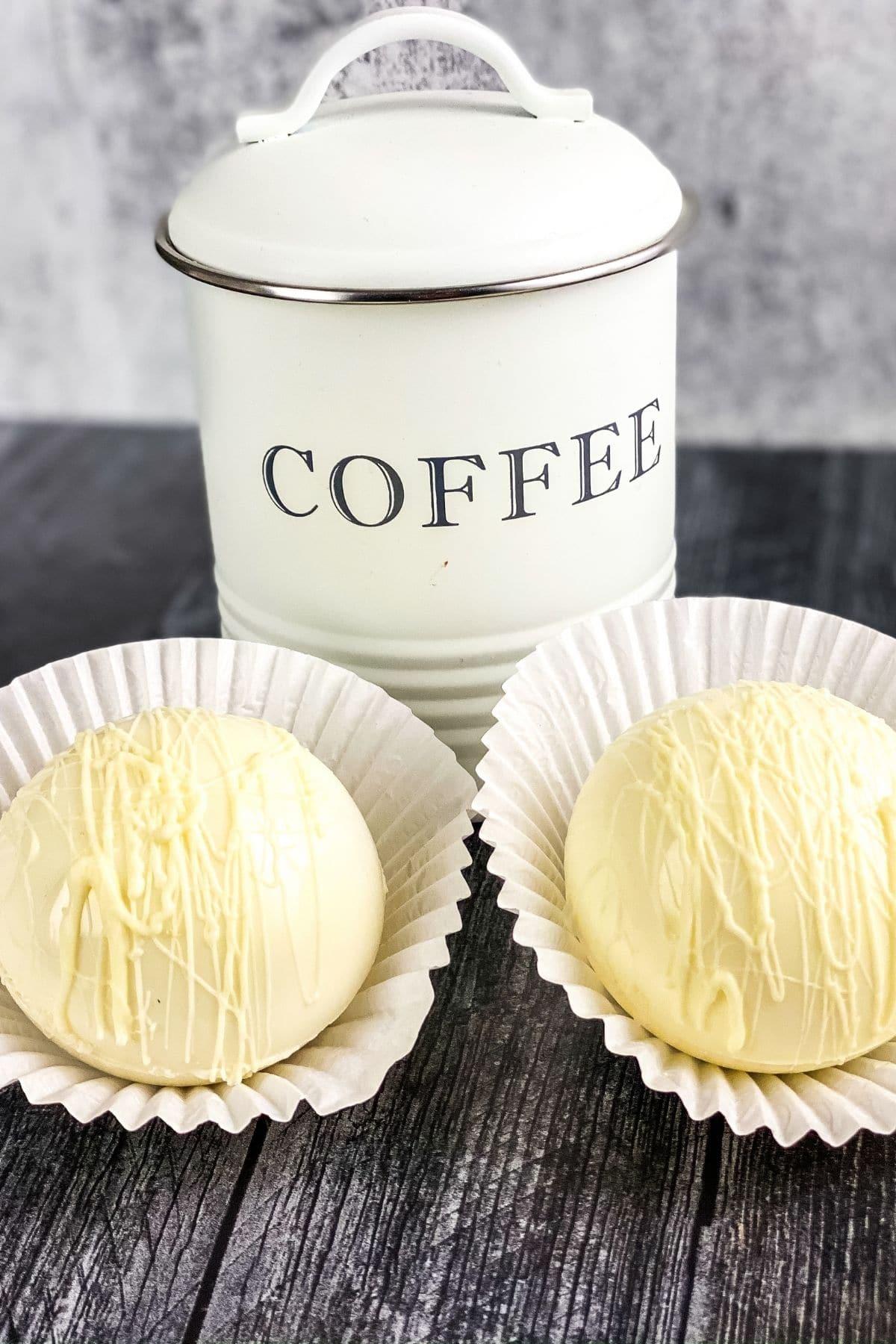 Irish Creme coffee bombs on grey table