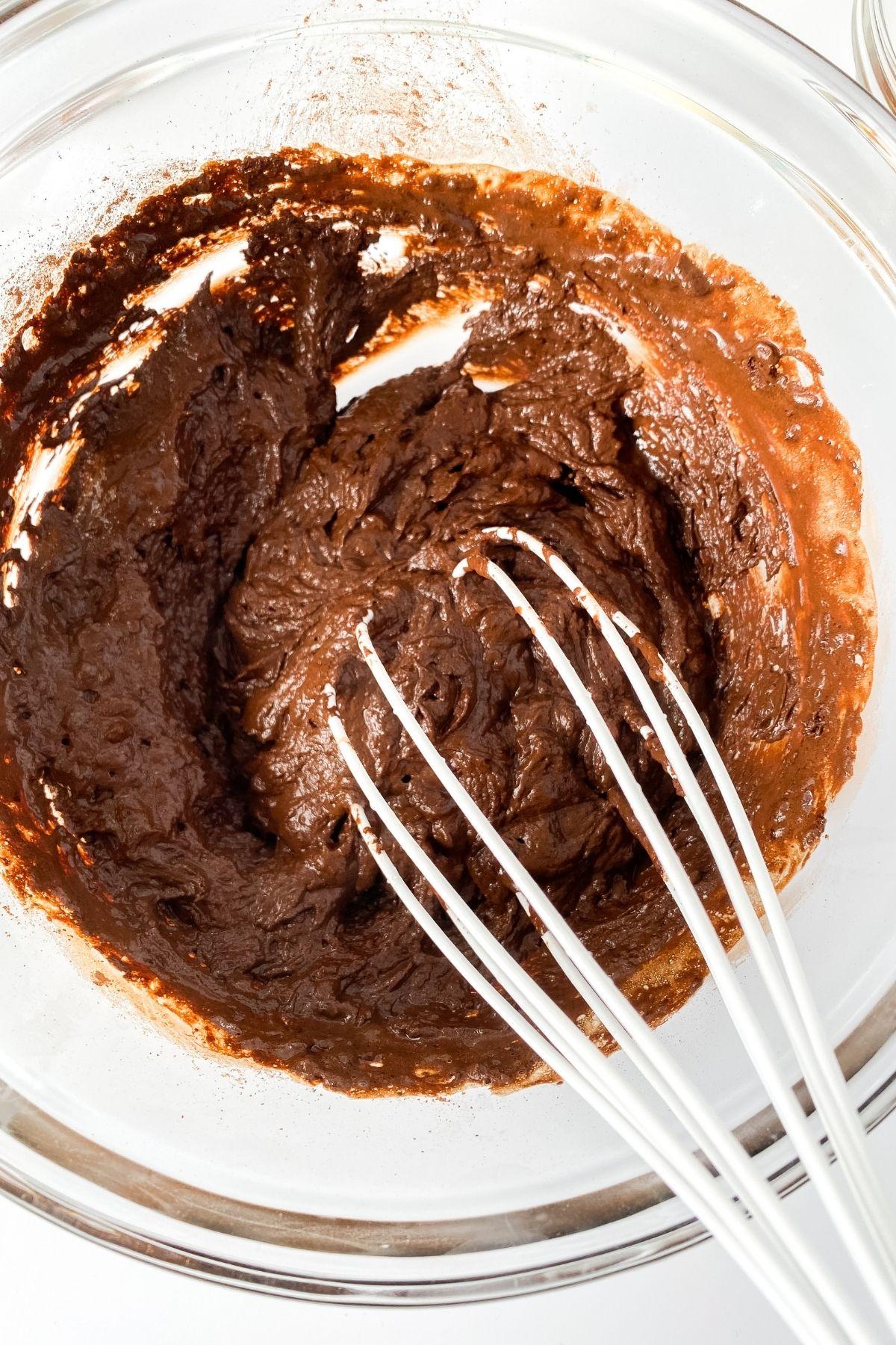 Brownie batter in bowl