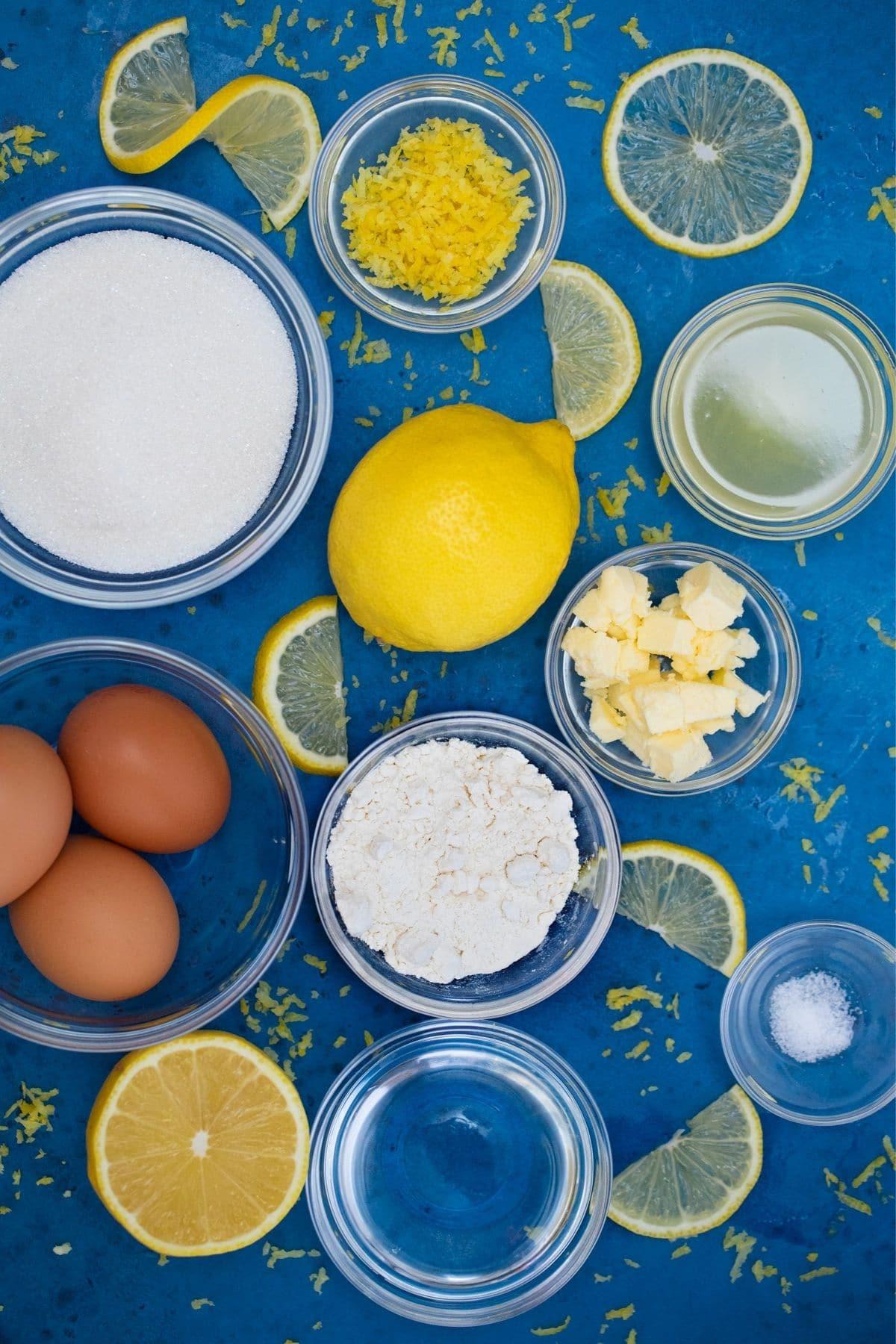 Ingredients for lemon meringue cupcakes