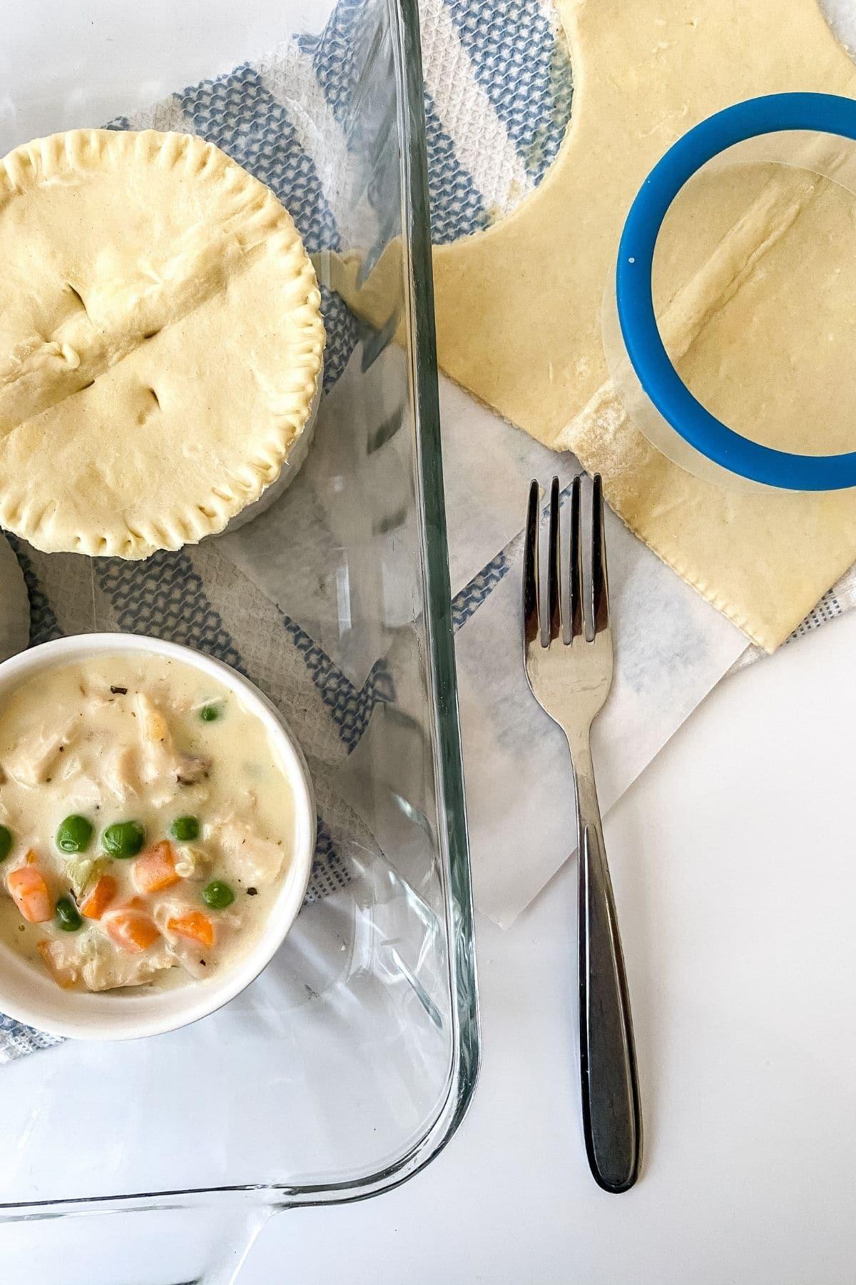 Adding crust to pot pies