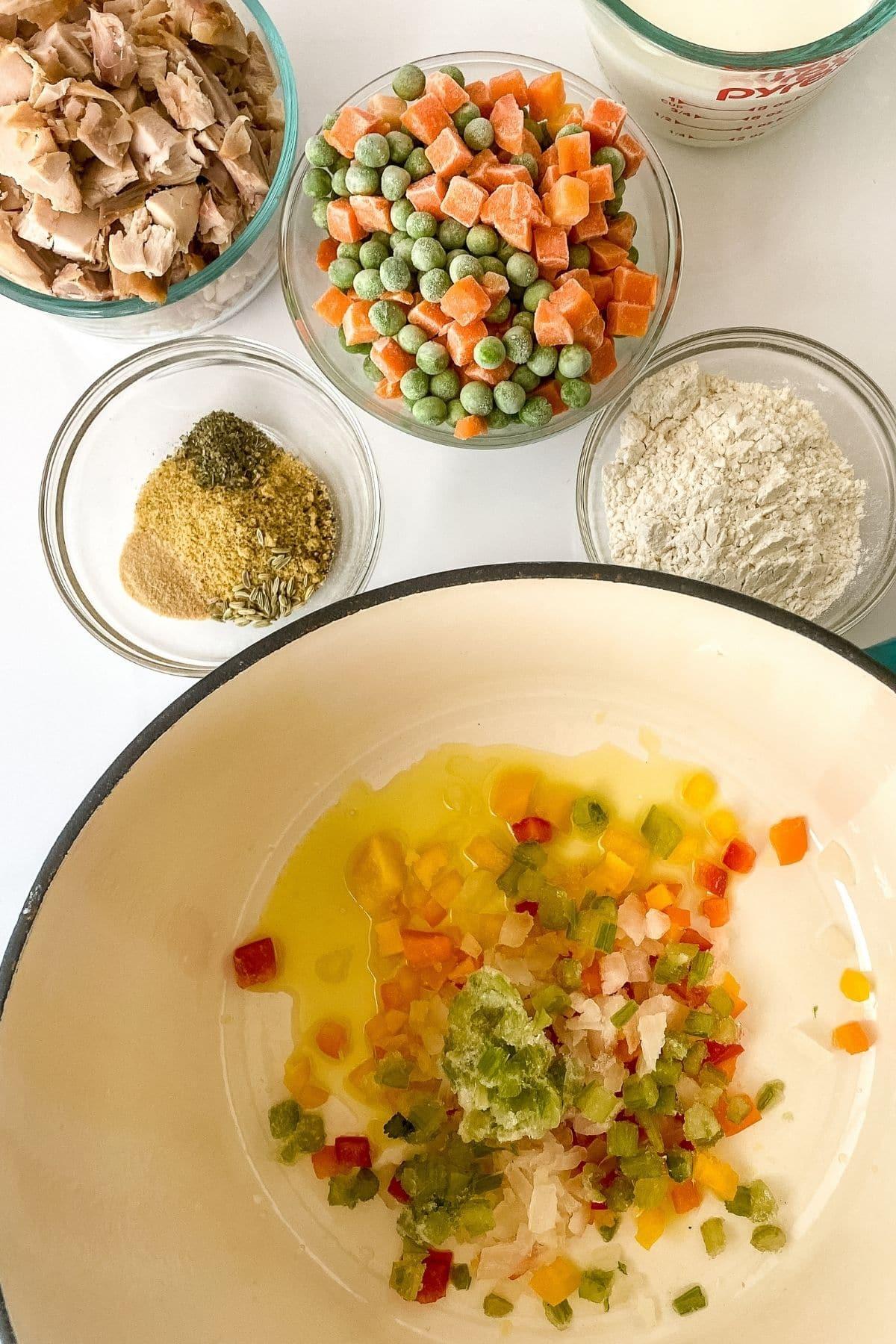 Ingredients for chicken pot pie