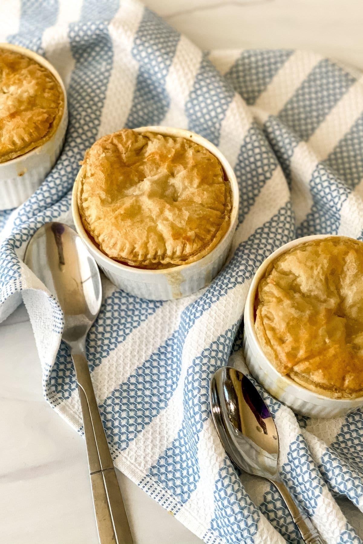 Chicken pot pie in ramekins