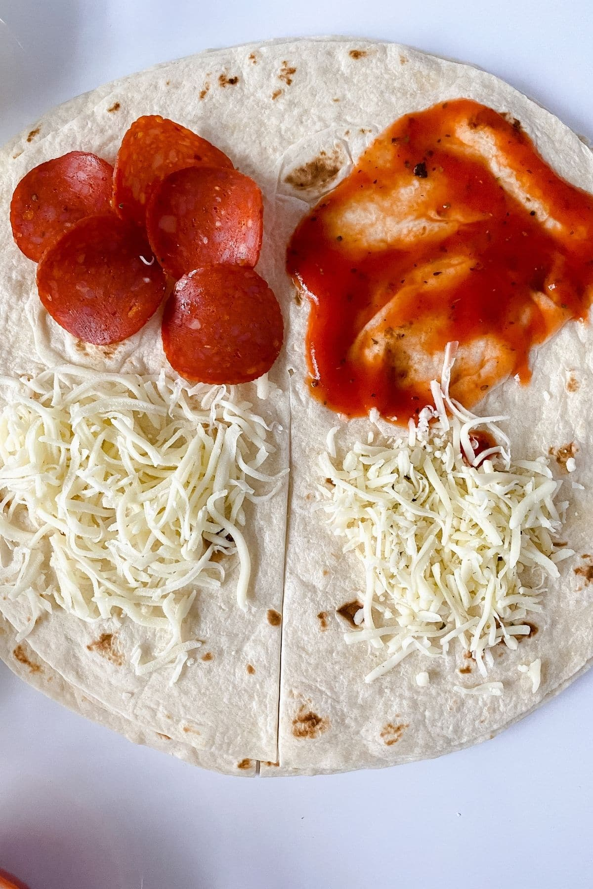Toppings on tortilla